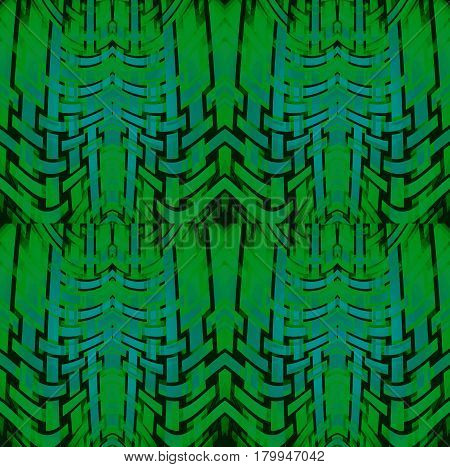 Abstract geometric seamless background. Regular curved stripes pattern dark green and turquoise with black outlines, netting.