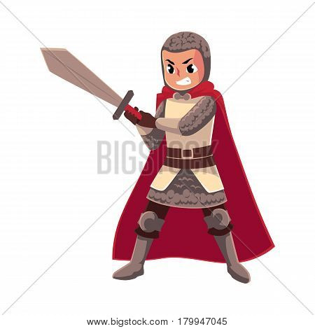 Medieval knight child, sword bearer, squire in chain armor, cartoon vector illustration isolated on white background. Full length portrait of kid armor bearer, page, knight apprentice