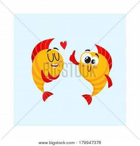 Two funny, smiling golden fish characters, one showing love, another giving thumb up, cartoon vector illustration isolated on white background. Yellow fish characters, mascots, love and friendship