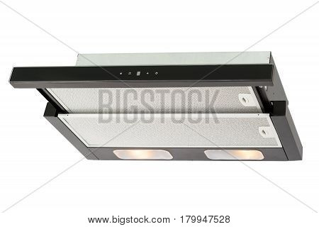Black cooker hood isolated on white background