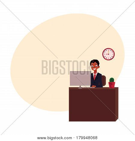 Black, African American businessman sitting at office desk, looking at the monitor, cartoon vector illustration with space for text. Black businessman, worker, employee working in office