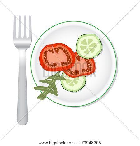 Vector veggies salade with fork . Flat illustration