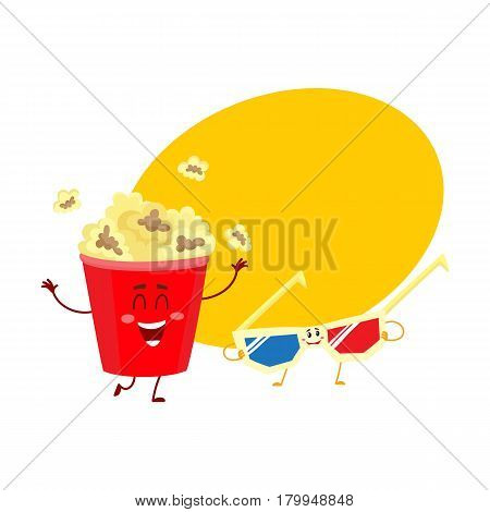 Cinema popcorn and 3D stereoscopic glasses characters with smiling human faces, cartoon vector illustration with place for text. Popcorn bucket and 3D glasses characters, mascots, symbols