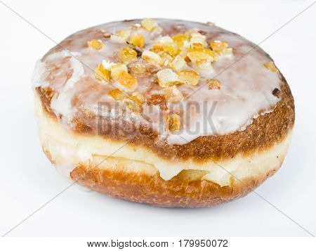 tasty donut with icing on white background
