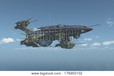 Computer generated 3D illustration with a huge spacecraft over the sea