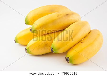 Small type of banana called murrapo (Musa acuminata) on white background poster