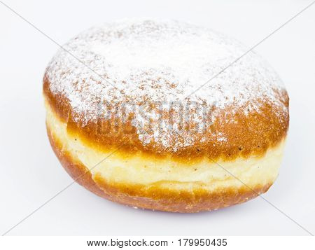 tasty donut with powdered sugar on white background
