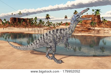 Computer generated 3D illustration with the dinosaur Suchomimus at a waterhole