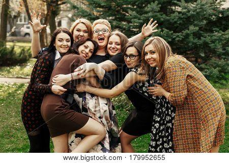 Stylish Elegant Women Having Fun At Celebration In Sunny Park, Funny Moment Concept, Gathering Toget