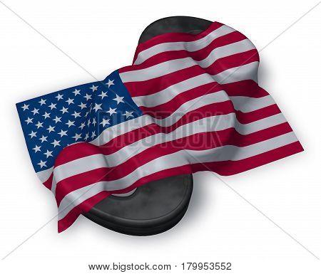 usa flag and paragraph symbol - 3d illustration