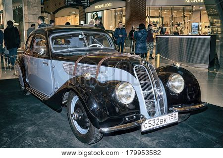 Moscow Russia - April 02 2017: Citroen 11c Traction Avant France 1953. Retro car exibition in shopping mall Metropolis.