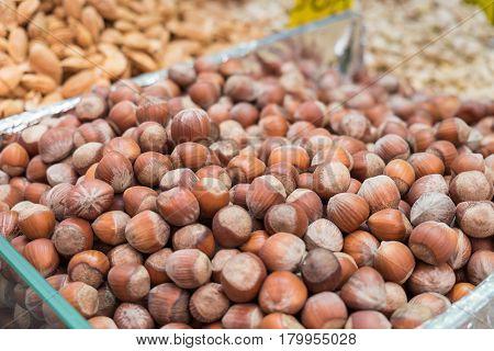Hazelnuts For Sale At Mahane Yehuda Market, Popular Marketplace In Jerusalem, Israel