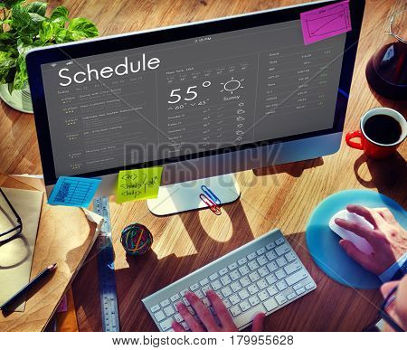 Man checking appointment on personal organizer schedule