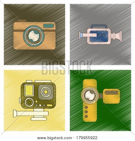 assembly flat shading style icon of multimedia technology camcorder photo camera