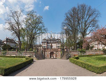 FRANKFURT, GERMANY-APRIL 03, 2017: Bolongaro Palace in the Bolongaropark in Frankfurt Hoechst