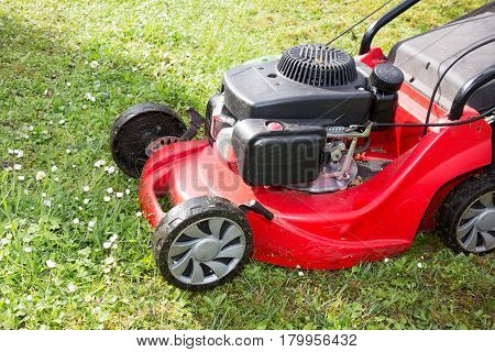 Lawnmower With Gasoline Engine Will Cut The Lawn