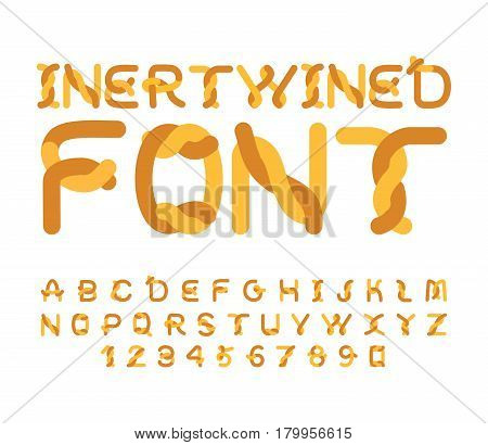 Twisted Font. Bound Alphabet. Intertwined Abc. Stranded Letter