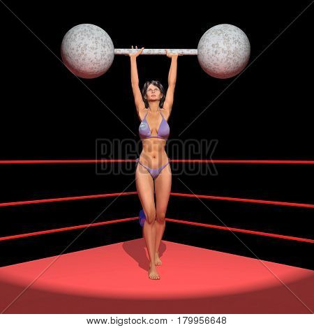 Computer generated 3D illustration with a female weightlifter