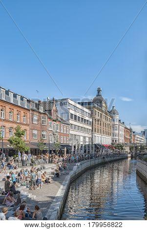 AARHUS DENMARK - AUGUST 07 2009: Canal scene from the Danish city of Aarhus.