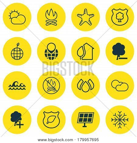 Set Of 16 Eco-Friendly Icons. Includes Home, Clear Climate, Delete Woods And Other Symbols. Beautiful Design Elements.