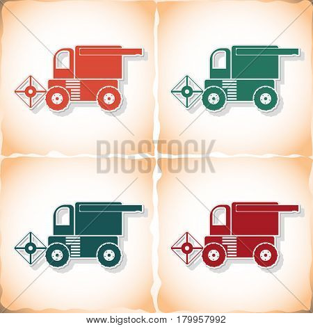 Combine-harvester. Flat sticker with shadow on old paper. Vector illustration