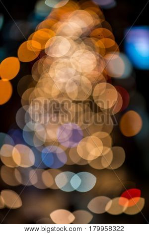abstact blur bokeh of Evening traffic jam on road in city., night scene