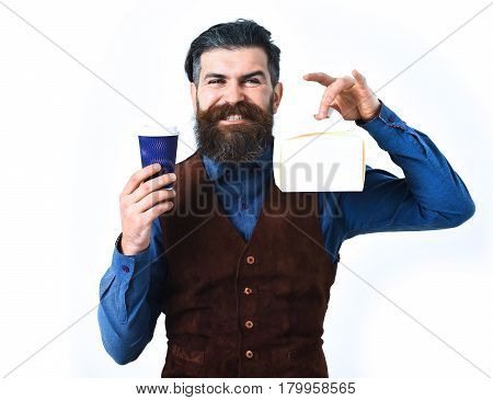 Bearded Brutal Caucasian Hipster With Coffee Cup And Meal Box