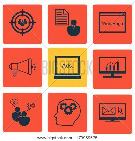 Set Of 9 Marketing Icons. Includes Media Campaign, Search Optimization, Newsletter And Other Symbols. Beautiful Design Elements.