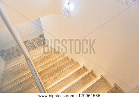 Light small corridor with good steps in hospital. Design concept