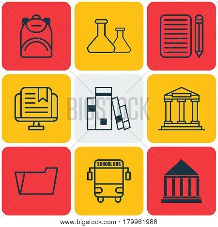 Set Of 9 School Icons. Includes Haversack, Transport Vehicle, Home Work And Other Symbols. Beautiful Design Elements.