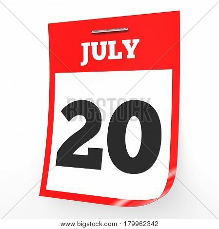 July 20. Calendar On White Background.
