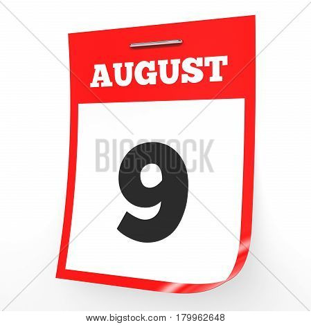 August 9. Calendar On White Background.