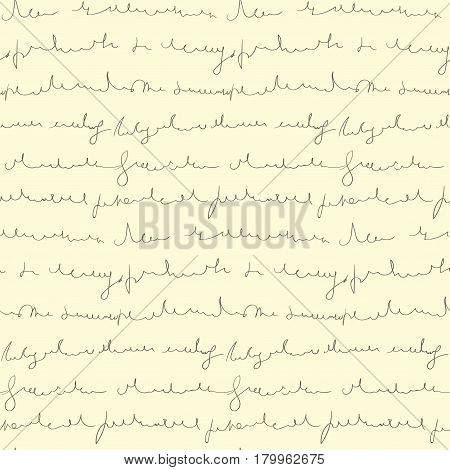 Seamless pattern of hand written text on beige background