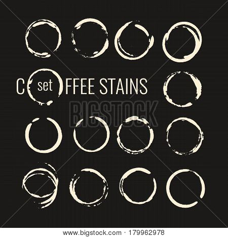 Set of isolated coffee stains. The traced splatter in the background. Vector illustration.