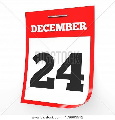 December 24. Calendar On White Background.