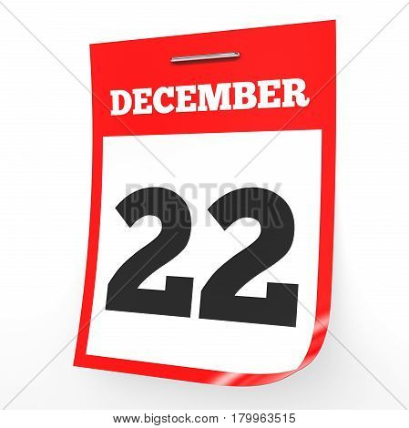 December 22. Calendar On White Background.