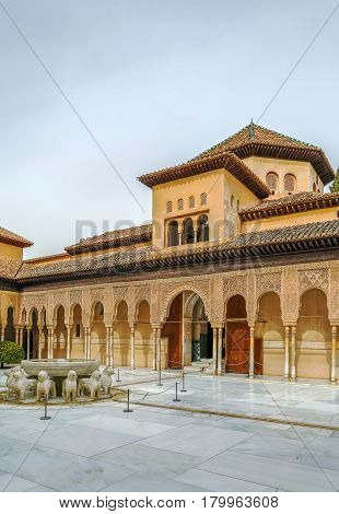 Court of the Lions is the main courtyard in Nasrid dynasty Palace Alhambra Granada Spain