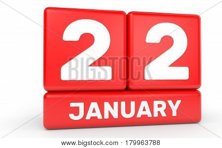 January 22. Calendar On White Background.