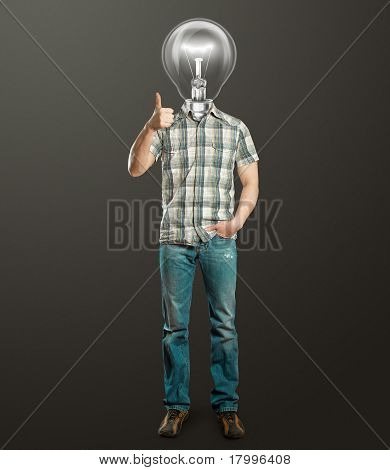 Full Length Man With Lamp Shows Well Done