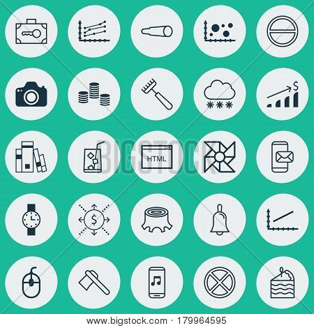 Set Of 25 Universal Editable Icons. Can Be Used For Web, Mobile And App Design. Includes Elements Such As Exit, Money, Increase Graph And More.