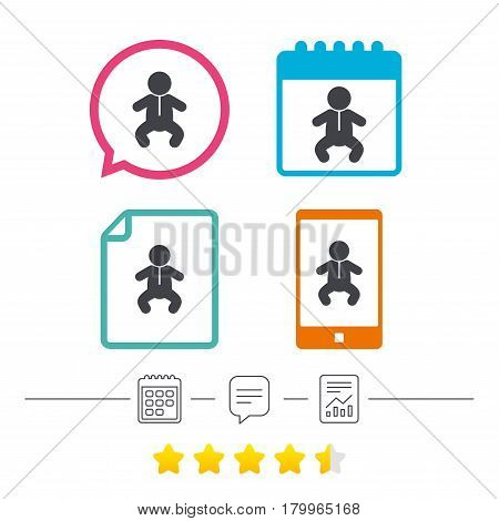 Baby infant sign icon. Toddler boy in pajamas or crawlers body symbol. Child WC toilet. Calendar, chat speech bubble and report linear icons. Star vote ranking. Vector