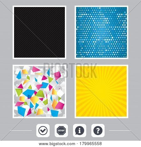 Carbon fiber texture. Yellow flare and abstract backgrounds. Information icons. Stop prohibition and question FAQ mark signs. Approved check mark symbol. Flat design web icons. Vector