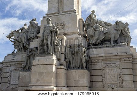Monument to the Constitution of 1812 Decorative detail made in stone Cadiz Andalusia Spain