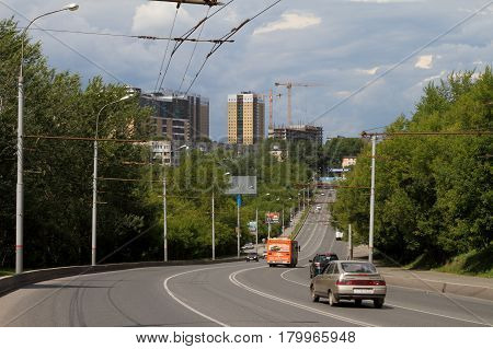 PERM RUSSIA-JULY 11 2016: Vehicular traffic on the South dike. Perm Russia.