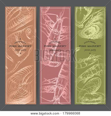 Three vertical fish market banners with grilled fish, lobster, seafood silver sketches. Great for markets, grocery stores, organic shops, food label design.