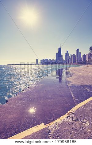 Color Toned Chicago Waterfront Skyline Against The Sun, Usa.