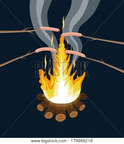 Bonfire with grilled sausages. Logs and fire. Camping, burning woodpile in night. Vector illustration in flat style