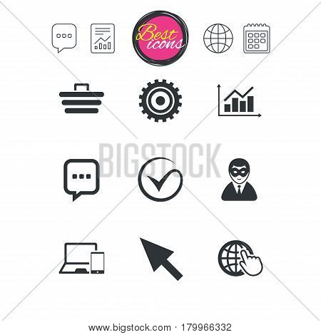 Chat speech bubble, report and calendar signs. Internet, seo icons. Tick, online shopping and chart signs. Anonymous user, mobile devices and chat symbols. Classic simple flat web icons. Vector