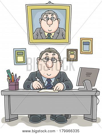 Businessman in his office at table working with documents