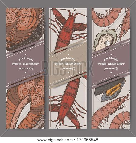Three color vertical fish market banners with grilled fish, lobster, seafood sketches. Great for markets, grocery stores, organic shops, food label design.